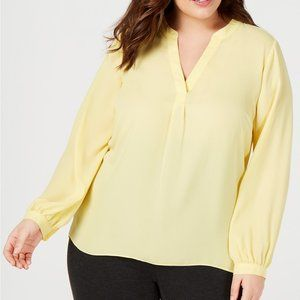 INC Plus Size V-Neck Woven Knit Top